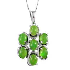 Green Ethiopian Opal (Ovl) 7 Stone Pendant With Chain in Platinum Overlay Sterling Silver 4.250 Ct.