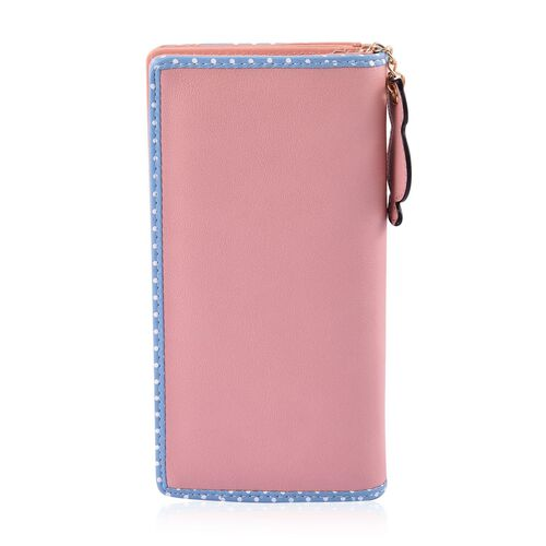 Blue and Pink Colour Cat Design Ladies Wallet with Cat Charm (Size 19X9X3 Cm)