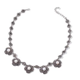 Fresh Water White Pearl and Purple Austrian Crystal Necklace (Size 18 with 1 inch Extender) in Silver Tone