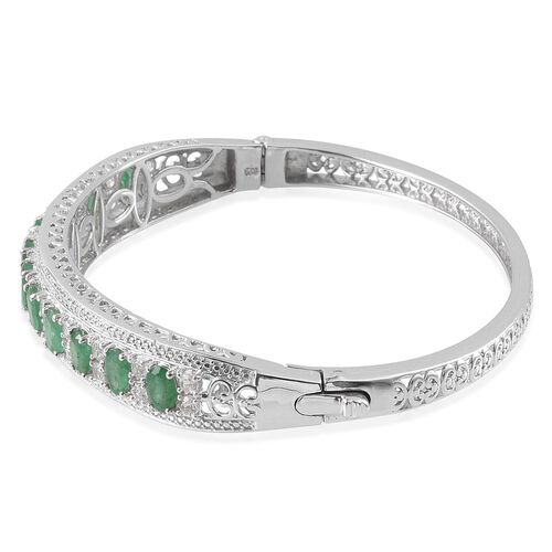 Kagem Zambian Emerald (Ovl), White Topaz Bangle (Size 7.5) in Platinum Overlay Sterling Silver 6.250 Ct.