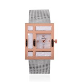 STRADA Japanese Movement Silver Colour Dial Water Resistant Watch in Rose Gold Tone with Stainless Steel Back and Chain Strap