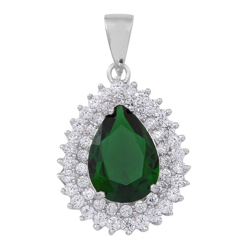 ELANZA AAA Simulated Emerald (Pear), Simulated Diamond Pendant in Rhodium Plated Sterling Silver