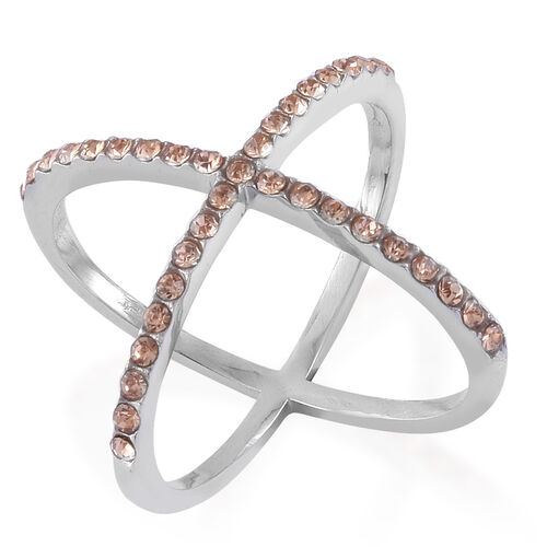 Champagne Colour Austrian Crystal Criss Cross Ring in Stainless Steel