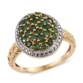 Kagem Zambian Emerald (Rnd) Cluster Ring in 14K Gold Overlay Sterling Silver 1.000 Ct.