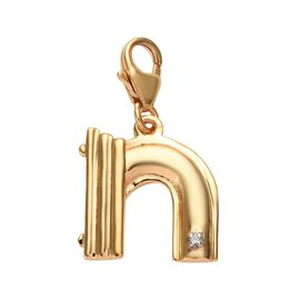 Diamond (Rnd) Initial N Charm in 14K Gold Overlay Sterling Silver
