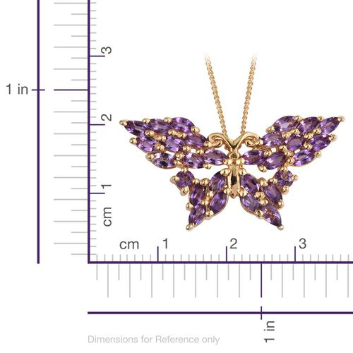 Amethyst (Mrq) Butterfly Pendant With Chain in 14K Gold Overlay Sterling Silver 2.250 Ct.
