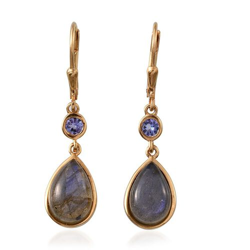 Labradorite (Pear), Tanzanite Lever Back Earrings in 14K Gold Overlay Sterling Silver 7.500 Ct.