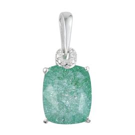 Emerald Green Crackled Quartz (Cush) Solitaire Pendant in Sterling Silver 4.000 Ct.