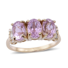 9K Y Gold AAA Urucum Kunzite (Ovl), Diamond Ring 3.500 Ct.