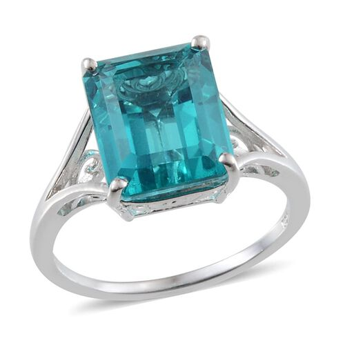 Capri Blue Quartz (Oct) Solitaire Ring in Platinum Overlay Sterling Silver 6.250 Ct.