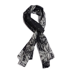 100% Mulberry Silk Black and Silver Colour Leaves Pattern Scarf (Size 180x50 Cm)
