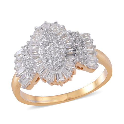 ELANZA AAA Simulated White Diamond (Rnd) Ring in 14K Gold Overlay Sterling Silver