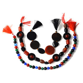 Multi Onyx & Agate Enhanced Gemstone Chain (Beads) 1120.000  Ct.