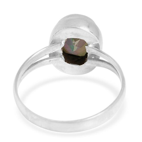 Green Coated Quartz (Ovl) Ring in Sterling Silver 2.520 Ct.