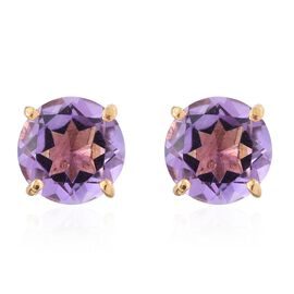 Rose De France Amethyst 2.25 Ct Solitaire Stud Earrings  in Gold Overlay Silver