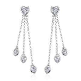 DOD - J Francis - Platinum Overlay Sterling Silver (Hrt) Dangle Earrings (with Push Back) Made with SWAROVSKI ZIRCONIA