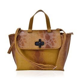 Bamboo Collection Snake Embossed Tote Bag with External Zipper Pocket and Adjustable and Removable Shoulder Strap (Size 42x27x12 Cm)