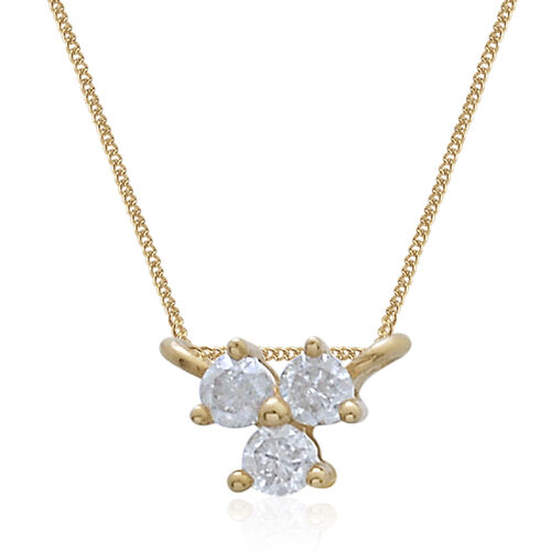 9K Yellow Gold SGL Certified Diamond (Rnd) (I3 G-H) Trilogy Necklace (Size 18) 0.100 Ct.