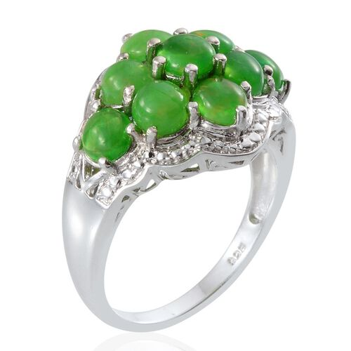 Green Ethiopian Opal (Rnd) Ring in Platinum Overlay Sterling Silver 2.750 Ct.