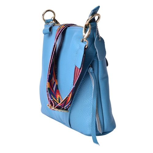 Genuine Leather Sky Blue Colour Handbag with External Zipper Pocket and Adjustable and Removable Multi Colour Shoulder Strap (Size 25X23X8 Cm)