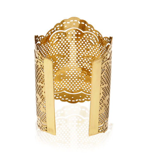 (Option 1) Jewels of India Handicraft Vintage Lace Cuff in Gold Tone
