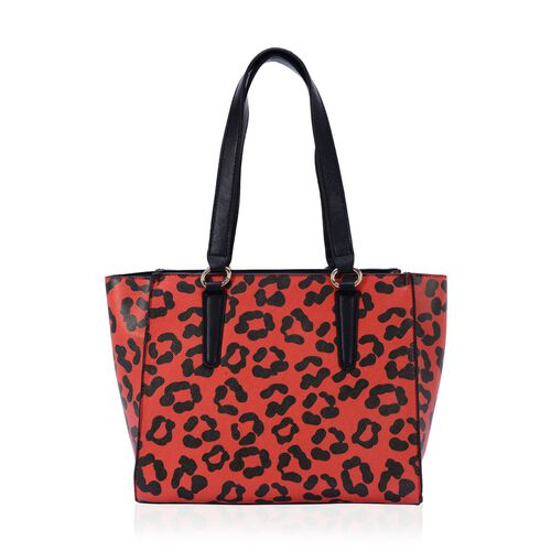 Charlotte Leopard Pattern Tote Bag with Tassels (Size 29x26x9 Cm)