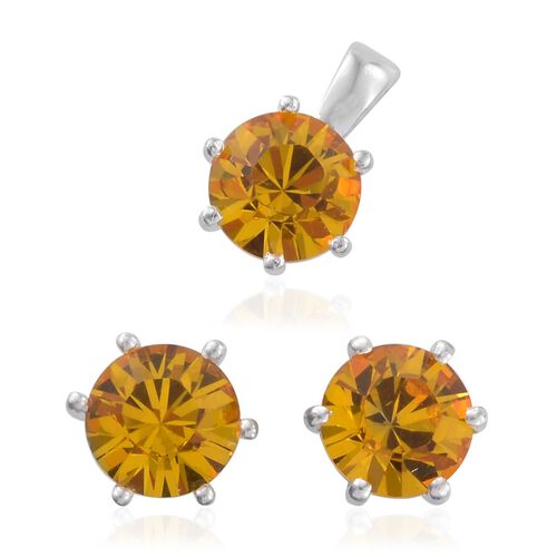 J Francis Crystal from Swarovski - Sunflower Colour Crystal (Rnd) Solitaire Pendant and Stud Earrings (with Push Back) in Sterling Silver