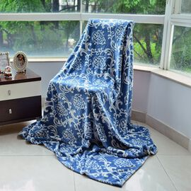 Luxury Superfine Microfibre Damask Blanket Blue and White (Size 200x150 Cm)