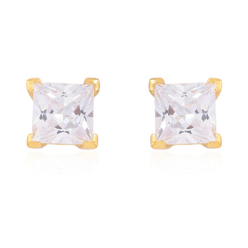 Set of 2- ELANZA AAA Simulated White Diamond (Rnd and Sqr) Stud Earrings (with Push Back) in 14K Gold Overlay Sterling Silver