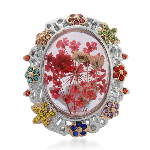 Natural Flower Preserved in Resin with Multi Colour Austrian Crystal Ring in Yellow Gold Plated and Stainless Steel