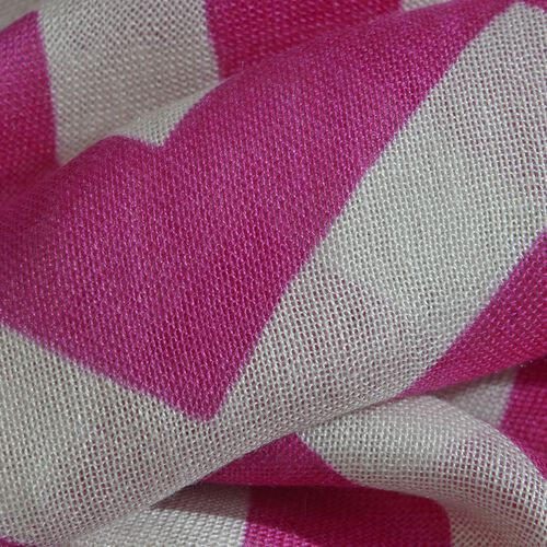 100% Viscose Pink and White Colour Printed Scarf (Size 180x55 Cm)