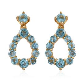 Paraiba Apatite (Rnd) Earrings (with Push Back) in 14K Gold Overlay Sterling Silver 2.250 Ct.