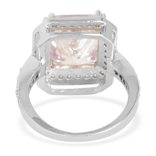 ELANZA AAA Simulated Diamond (Oct) Ring in Rhodium Plated Sterling Silver