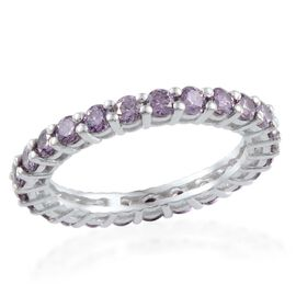 J Francis Platinum Plated Silver 1.50 Carat Made With Amethyst Swarovski Zirconia Full Eternity Ring