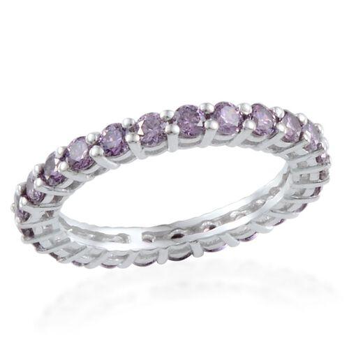 J Francis - Platinum Overlay Sterling Silver (Rnd) Full Eternity Ring Made With Amethyst SWAROVSKI ZIRCONIA