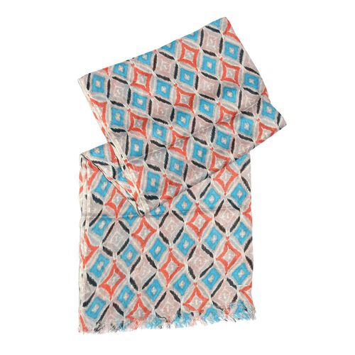 Blue, Red and Multi Colour Rhombus Printed Scarf (Size 180x70 Cm)