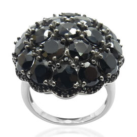 Boi Ploi Black Spinel (Rnd) Cluster Ring in Rhodium Plated Sterling Silver 12.990 Ct.