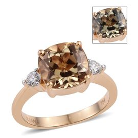 ILIANA 18K Y Gold Turkizite (Cush 3.75 Ct), Diamond Ring 4.000 Ct.