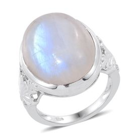Rainbow Moonstone (Ovl) Ring in Platinum Overlay Sterling Silver 16.750 Ct.