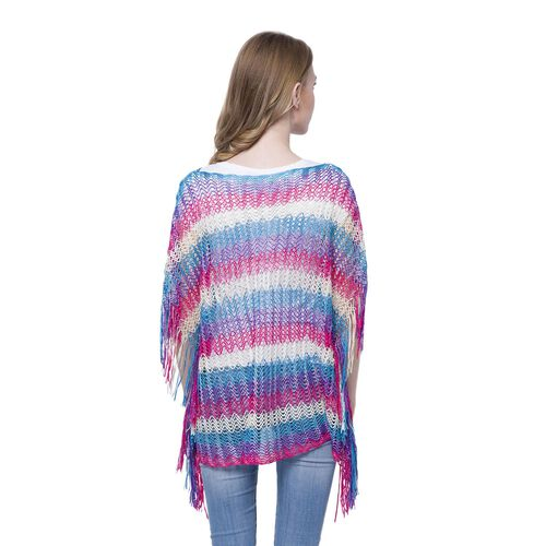 Purple, Blue, White and Pink Colour Stripe Pattern Poncho (Size 90x55 Cm) and White Colour Vest (Size 60x55 Cm)