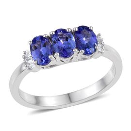 ILIANA 18K White Gold 1.50 Carat AAA Tanzanite Oval Trilogy Ring with Diamond SI G-H.