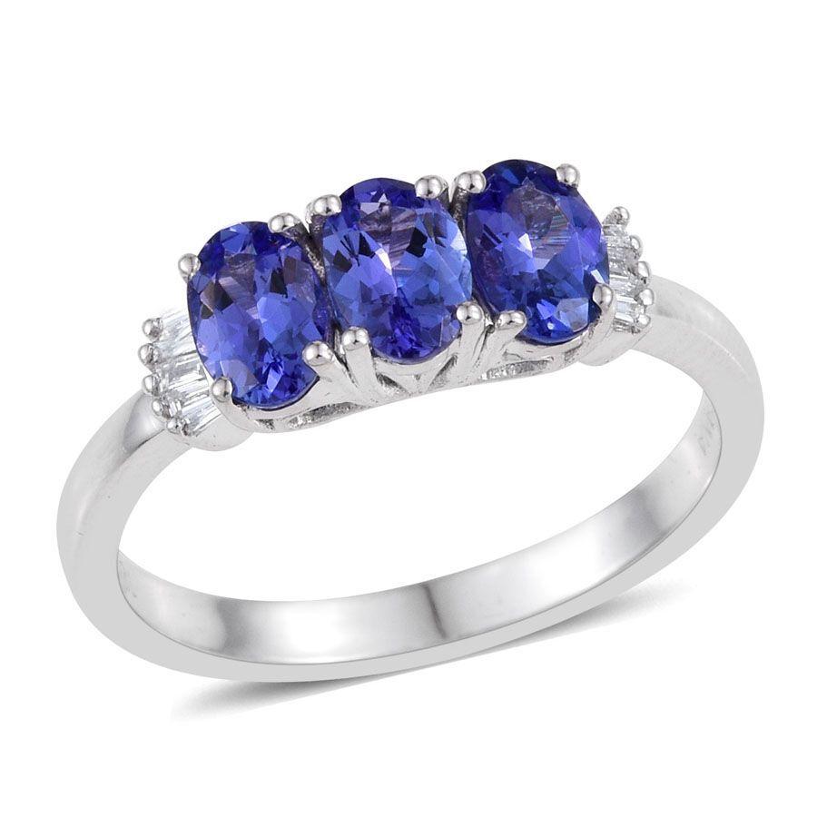 Carat Tanzanite: ILIANA 18K White Gold 1.50 Carat AAA Tanzanite Oval Trilogy Ring With Diamond SI G-H.