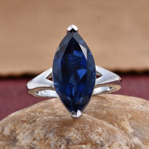 Ceylon Colour Quartz (Mrq) Solitaire Ring in Platinum Overlay Sterling Silver 9.000 Ct.
