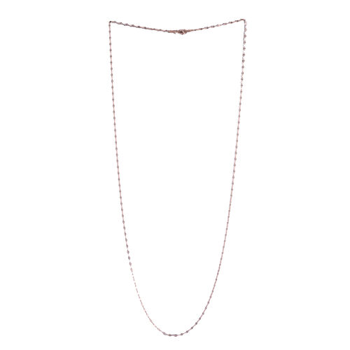 Rose Gold Overlay Sterling Silver Diamond Cut Rolo Chain (Size 30), Silver wt 3.70 Gms.
