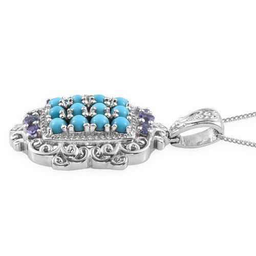 Arizona Sleeping Beauty Turquoise (Rnd), Tanzanite Pendant With Chain in Platinum Overlay Sterling Silver 1.650 Ct.
