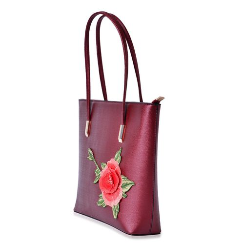 Metallic Red Colour with Embroidered 3D Floral Pattern Tote Bag (Size 36x28x8 Cm)