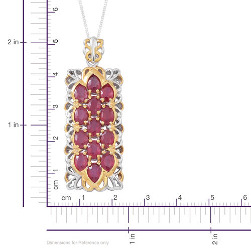 AAA African Ruby (Ovl) Pendant with Chain in Rhodium Plated and Yellow Gold Overlay Sterling Silver 9.000 Ct. Silver Wt.9.70 GMS
