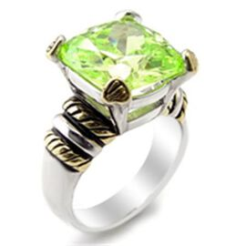 ELANZA Simulated Emerald (Sqr) Two Tone Ring in Platinum & 14K Gold Overlay Sterling Silver