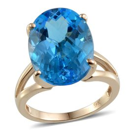 9K Y Gold Electric Swiss Blue Topaz (Ovl) Solitaire Ring 14.000 Ct.