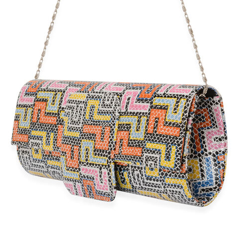 Multi Colour Geometric Pattern Hand Bag with Removable Chain Strap (Size 30x12 Cm)